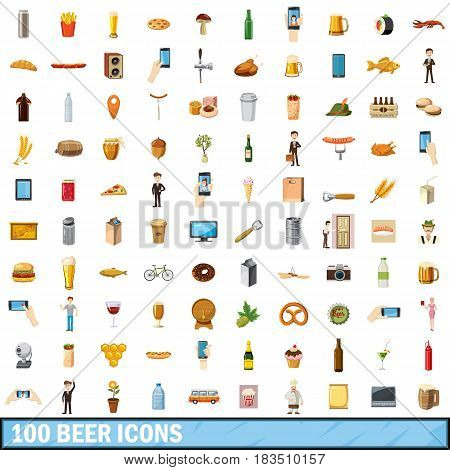 100 beer icons set in cartoon style for any design vector illustration