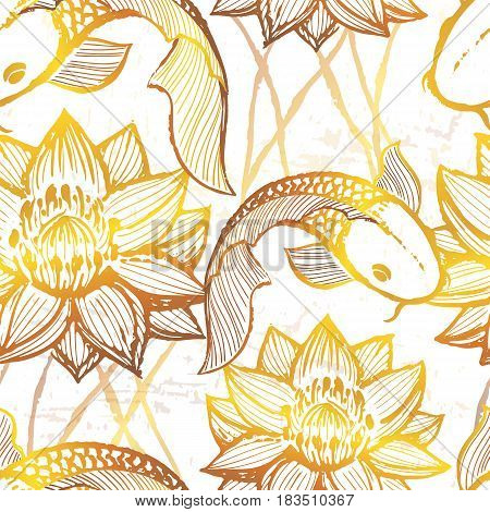 Ink hand drawn golden koi seamless pattern Vector ornament with asian fish