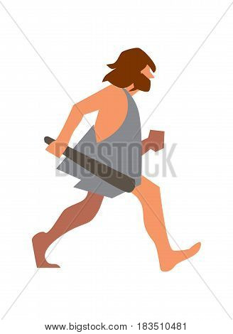 Stone age man with club going vector illustration isolated on white background. Caveman character in flat design.