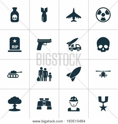 Army Icons Set. Collection Of Cranium, Rocket, Military And Other Elements. Also Includes Symbols Such As Artillery, Gong, Atom.
