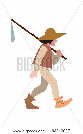 Medieval peasant in hat and with sack vector illustration isolated on white background. Countryman character in flat design.