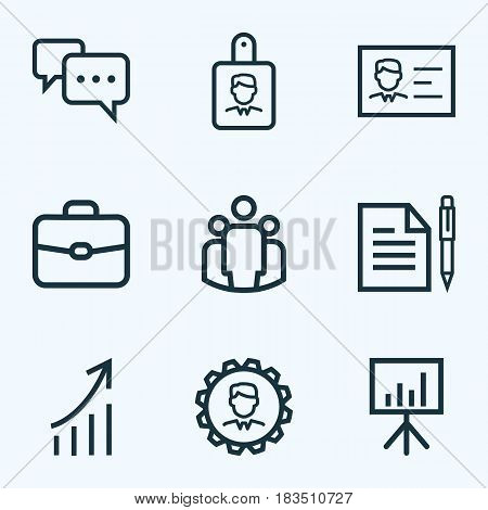 Job Outline Icons Set. Collection Of Identification, Briefcase, Growing Chart And Other Elements. Also Includes Symbols Such As Manager, Presentation, Message.