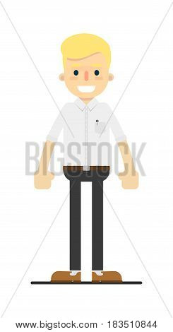Smiling blond lawyer character isolated on white background vector illustration. People personage in flat design.