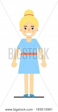 Smiling young blonde girl in blue dress isolated on white background vector illustration. People personage in flat design.