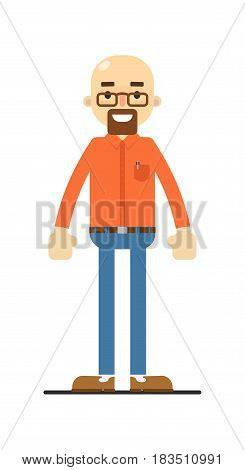 Happy bald and bearded man isolated on white background vector illustration. People personage in flat design.