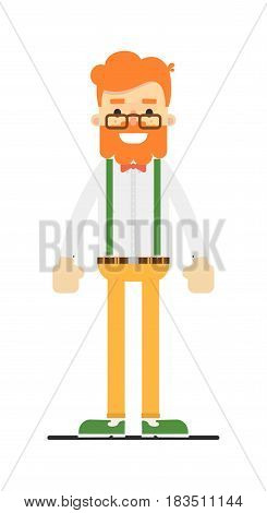 Happy redheaded bearded man character isolated on white background vector illustration. People personage in flat design.