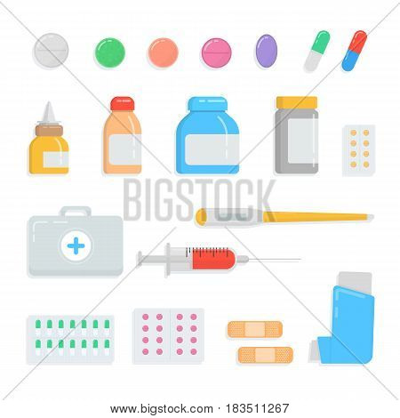 Set of different pills and drugs. First-aid kit contents medication, drops, tablet, syringe, thermometer, plaster, inhaler, capsule, vial medicine bottle collection Vector flat illustration