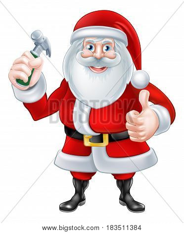 A Christmas cartoon illustration of Santa Claus holding a hammer and giving a thumbs up