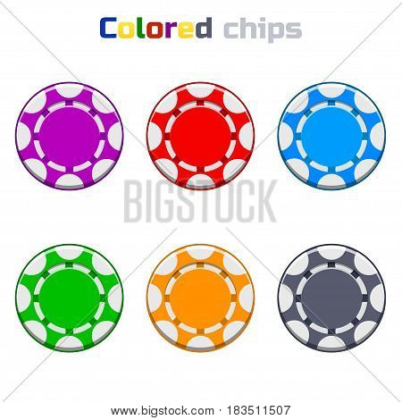 Colors Cartoon Poker Chips in vector image