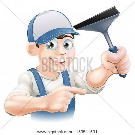 A happy Window Cleaner holding a Squeegee in his hand and pointing