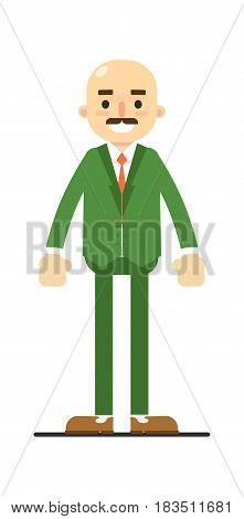 Adult bald man with mustache in green suit isolated on white background vector illustration. People personage in flat design.