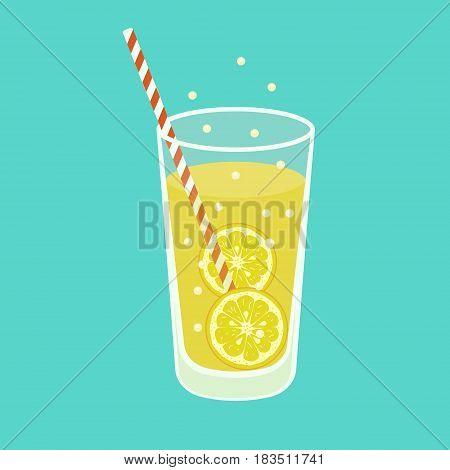 Fresh Lemonade isolated on background. Vector illustration. Eps 10.