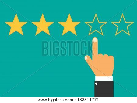 Hand with pointing finger pointing to rating stars. Vector illustration. Eps 10