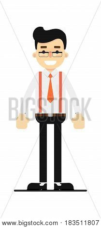 Positive and young office clerk isolated on white background vector illustration. People personage in flat design.