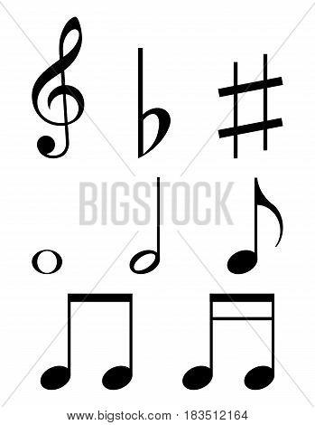 Set of music notes isolated on white background. Vector illustration. Eps 10.