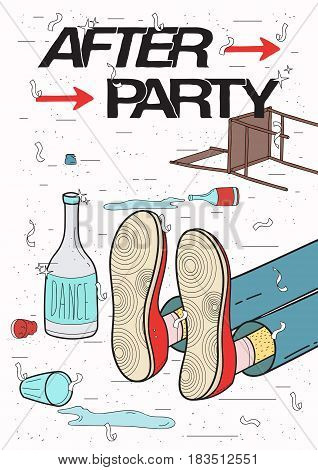 Afterparty placard. Drunk, tired guy asleep, resting of drinking. Funny party poster. Colorful Illustration
