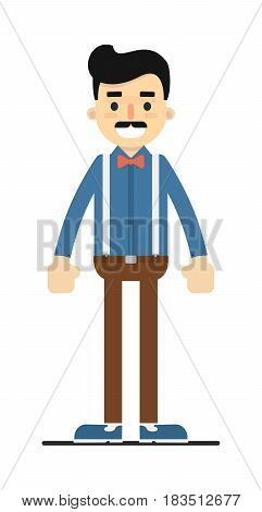 Positive standing man in shirt and pants isolated on white background vector illustration. People personage in flat design.