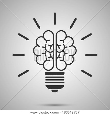 lamp brain icon isolated on white background. Vector illustration. Eps 10.