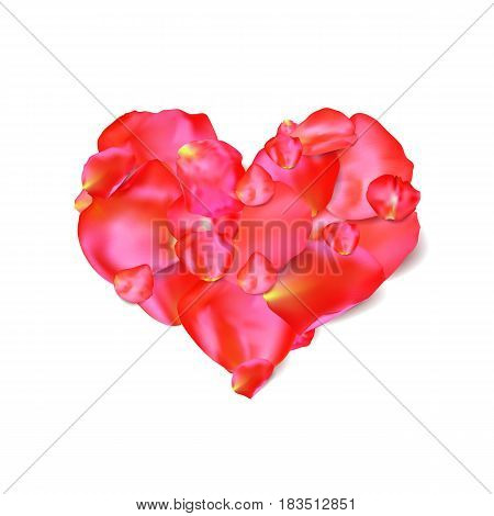 Heart shape of red petals on white, vector illustration. Good for Valentine' s day, wedding invitation or greeting card. Love background