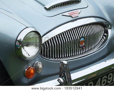 Blue Austin Healey 3000 Sports car at Hebden Bridge Vintage Weekend 2016