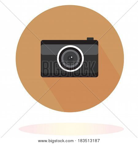 black camera on brown circle, logo, picture for photographer