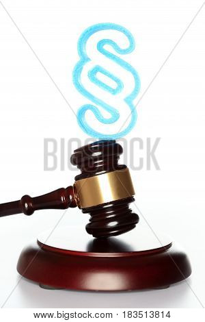 blue paragraph symbol and gavel on white background