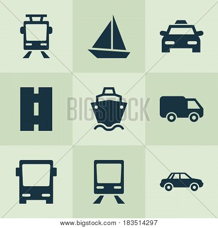 Transportation Icons Set. Collection Of Cab, Omnibus, Yacht And Other Elements. Also Includes Symbols Such As Sail, Tanker, Railway.
