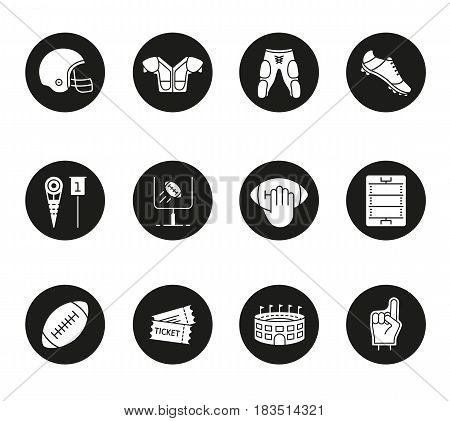 American football icons set. Helmet, shoulder pad, ball, shorts, hand holding ball, goal sign, foam finger, game tickets, arena. Vector white silhouettes illustrations in black circles