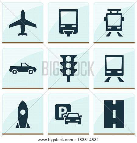 Transport Icons Set. Collection Of Spaceship, Stoplight, Cabriolet And Other Elements. Also Includes Symbols Such As Wagon, Trolley, Auto.