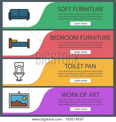 Furniture banner templates set. Sofa, toilet, bed, wall picture. Website menu items. Color web banner. Vector headers design concepts