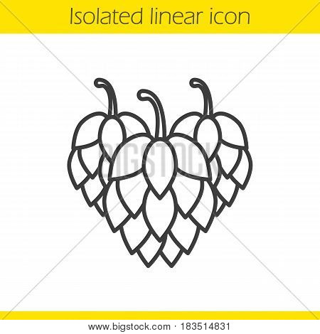 Hop cones linear icon. Thin line illustration. Contour symbol. Vector isolated outline drawing
