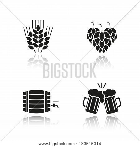 Beer drop shadow black icons set. Wheat ears, hop cones, alcohol wooden barrel, toasting beer glasses. Isolated vector illustrations