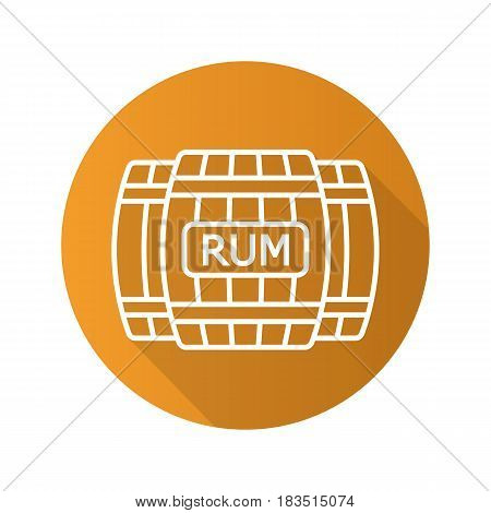 Rum wooden barrels. Flat linear long shadow icon. Alcohol wooden barrels. Vector line symbol