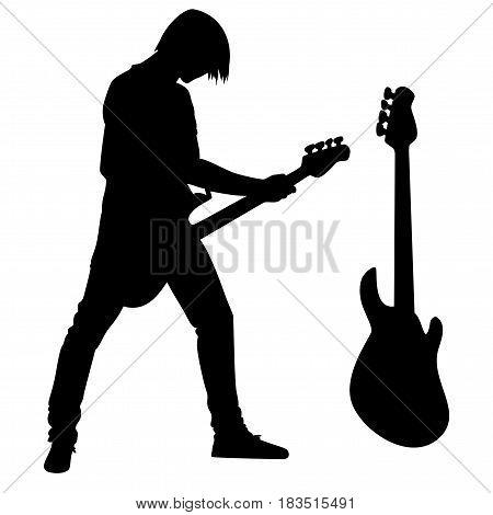 rock guitarist and bass guitar black vector silhouette design set