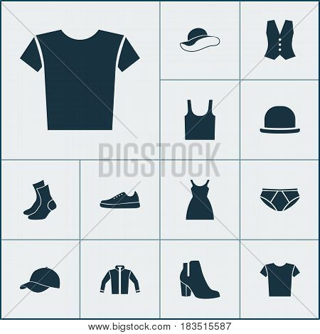 Clothes Icons Set. Collection Of Panama, Singlet, Elegant Headgear And Other Elements. Also Includes Symbols Such As Boots, Trilby, Female.