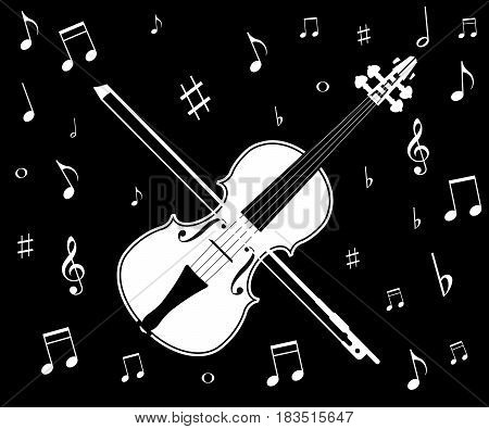 plays violin isolated on white background. Vector illustration. Eps 10.