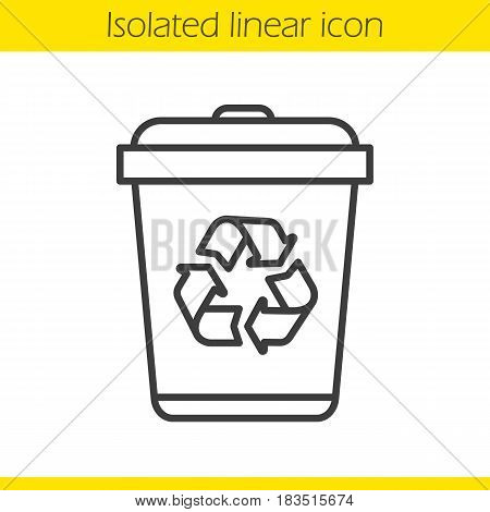 Recycle bin linear icon. Dustbin thin line illustration. Wastebasket contour symbol. Vector isolated outline drawing