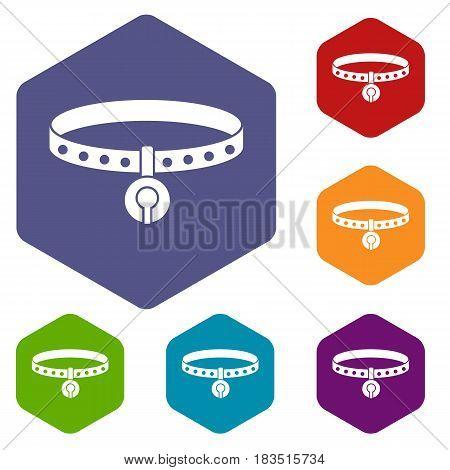 Cat collar icons set hexagon isolated vector illustration