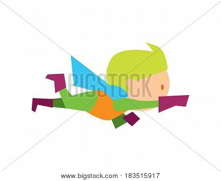 Flying kid in superman costume vector illustration isolated on white background. Boy in superhero costume character in flat design.