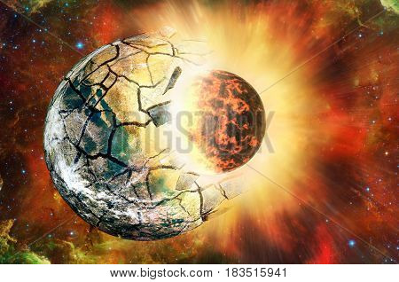 Clash of two planets in open space. (Elements of this image furnished by NASA )