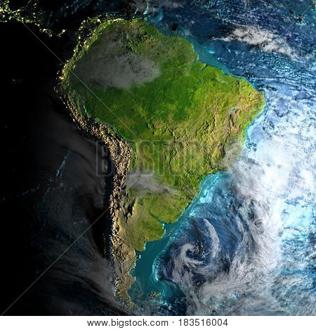 South America On Physical Map In The Morning