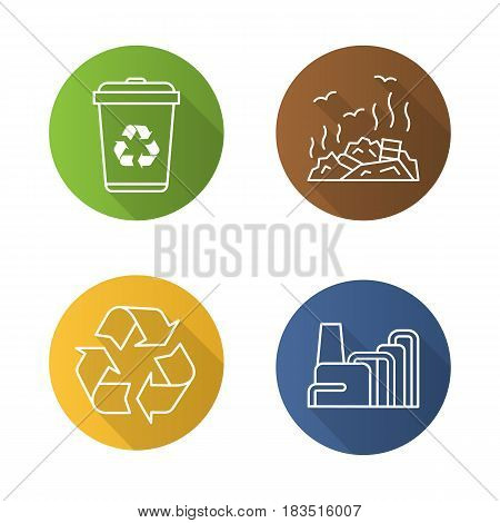 Waste management flat linear long shadow icons set. Recycle bin symbol, rubbish dump, factory pollution. Environment protection. Vector line illustration