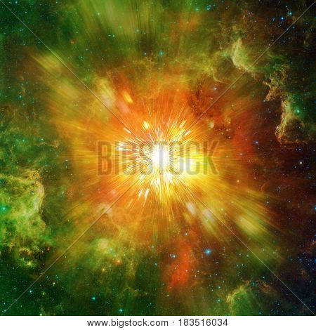 Big explosion in space and relic radiation. Elements of this image furnished by NASA