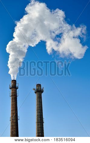Harmful Emissions Into The Atmosphere From Industry. Greenhouse Gases And Glabal Warming.