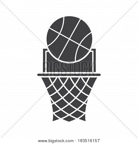 Basketball point glyph icon. Silhouette symbol. Basketball hoop and ball. Negative space. Vector isolated illustration