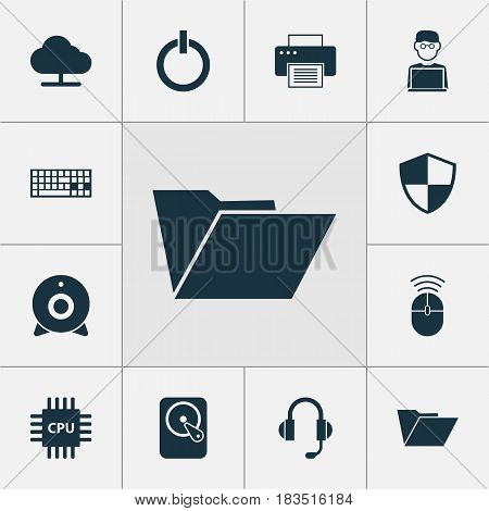Computer Icons Set. Collection Of Hdd, Computer Mouse, Motherboard And Other Elements. Also Includes Symbols Such As Camera, Hard, Disk.