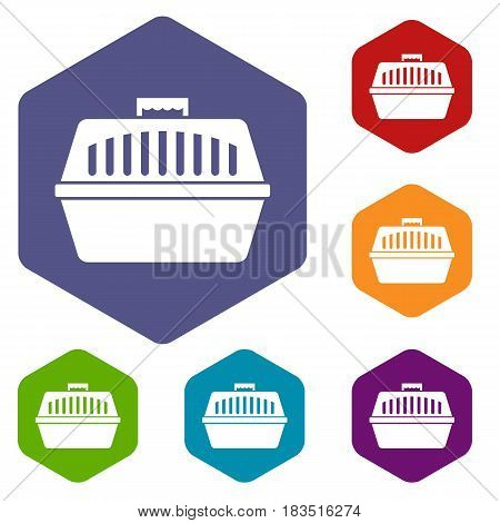 Pet carry case icons set hexagon isolated vector illustration