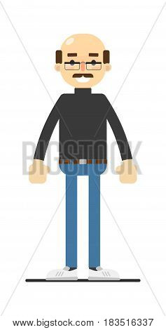 Adult bald man with mustache in shirt and jeans isolated on white background vector illustration. People personage in flat design.