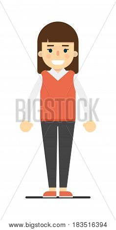 Happy smiling girl in casual clothes isolated on white background vector illustration. People personage in flat design.