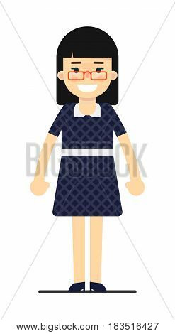 Cheerful business woman in blue dress isolated on white background vector illustration. People personage in flat design.
